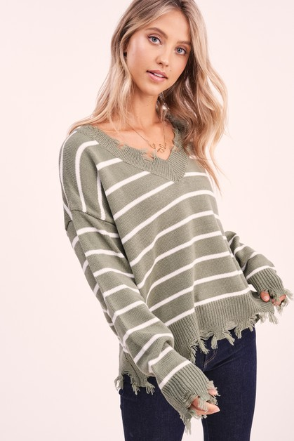 Lamora Distressed Sweater - orangeshine.com