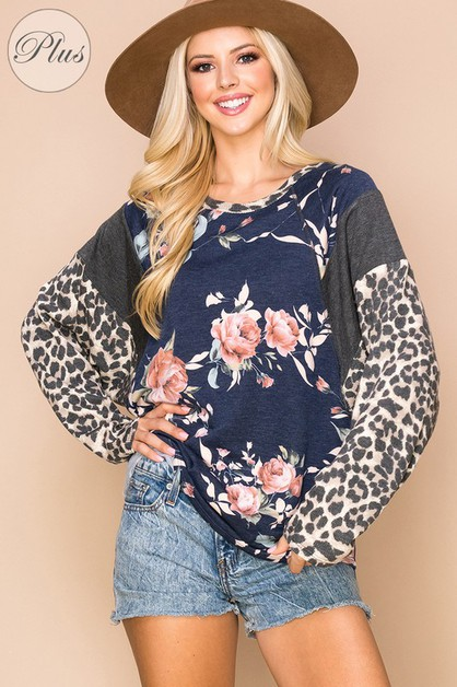 Relaxed Animal And Floral Loose Fit Top - orangeshine.com