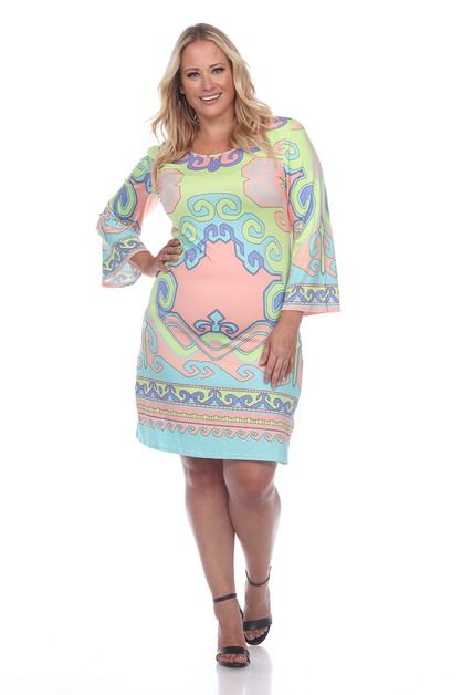 Plus Size Bell Sleeve Printed Dress - orangeshine.com