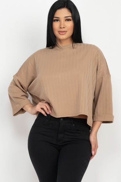 Drop Shoulder Solid Ribbed Top - orangeshine.com