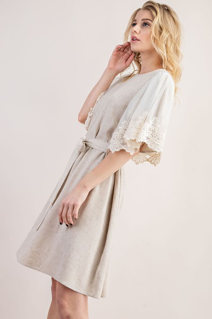 EMBROIDERY LACE FLUTTER SLEEVE DRESS - orangeshine.com