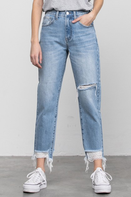 HIGH WAIST TAPERED JEANS - orangeshine.com