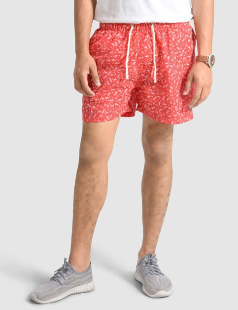 Mens Patterned Red Swim Shorts - orangeshine.com