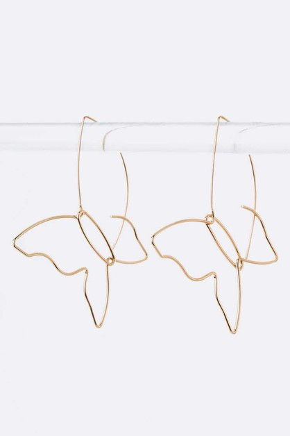 Butterfly Wired Hoop Earrings - orangeshine.com