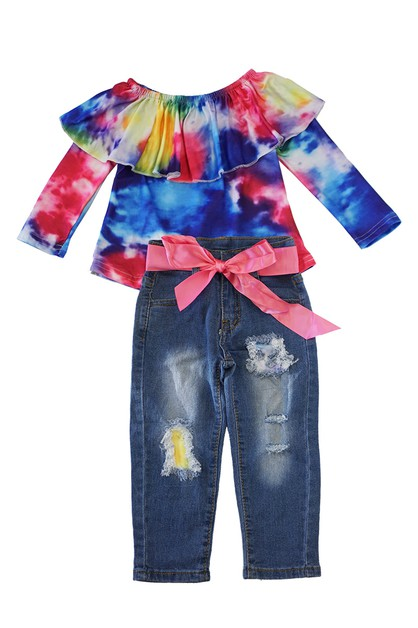 Tie dye ruffle denim set - orangeshine.com