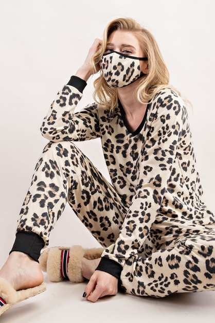 SOFT TERRY LEOPARD PRINT COMFY SET - orangeshine.com