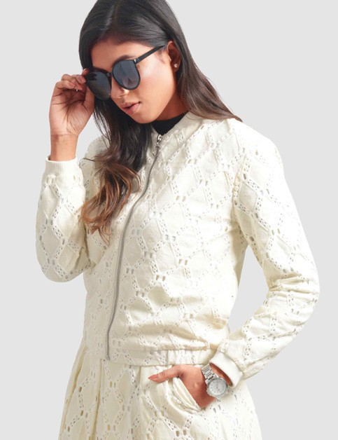 Womens Lace Bomber Jacket - orangeshine.com
