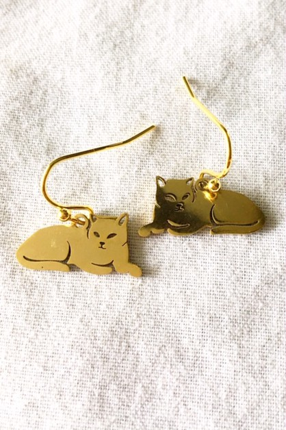 Gold tone stainless steel cat earrin - orangeshine.com