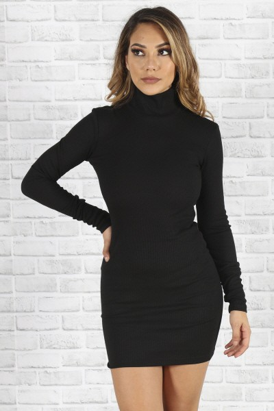 high neck long sleeved slim dress - orangeshine.com