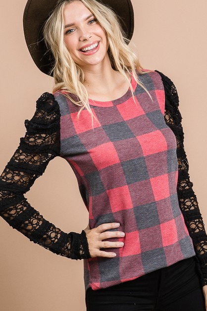 PLAID LACE SLEEVE TOP - orangeshine.com