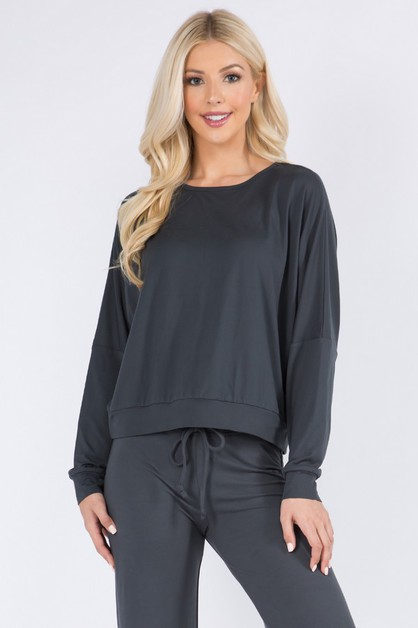 Dropped Shoulder Long Sleeve Top - orangeshine.com