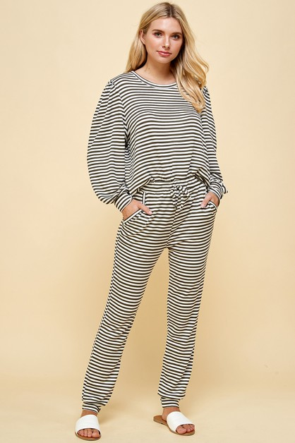 Comfy Striped Pants with Pockets - orangeshine.com