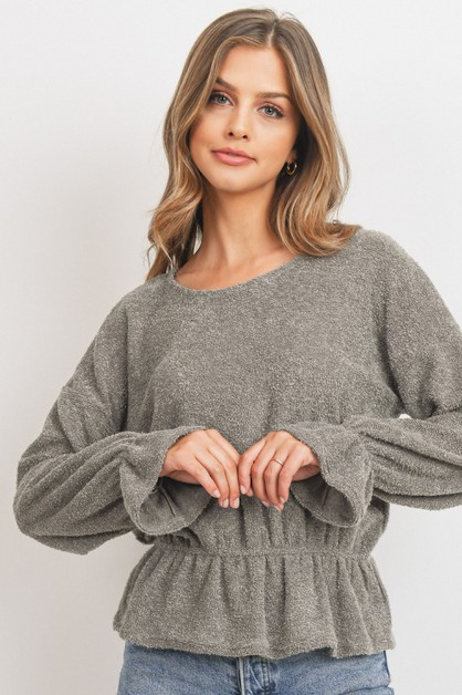 Furry Knit With Shirring Long Sleeve - orangeshine.com