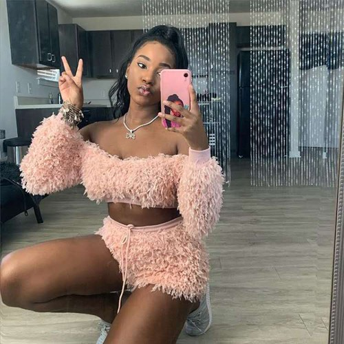 Plush Crop Top and Shorts 2pcs set  - orangeshine.com