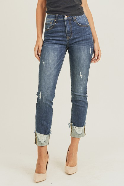 FRAYED CUFF ANKLE STRAIGHT JEANS - orangeshine.com