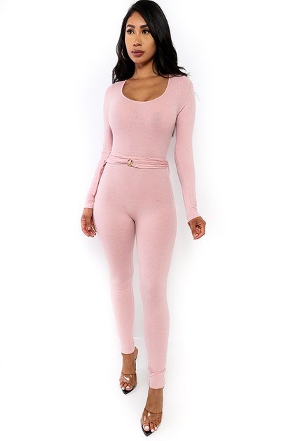 LONG SLEEVE BODYCON JUMPSUIT  - orangeshine.com