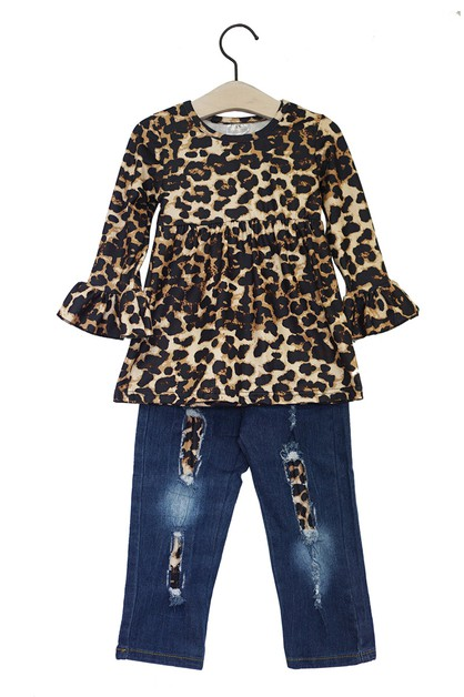 Leopard tunic with denim jeans set - orangeshine.com