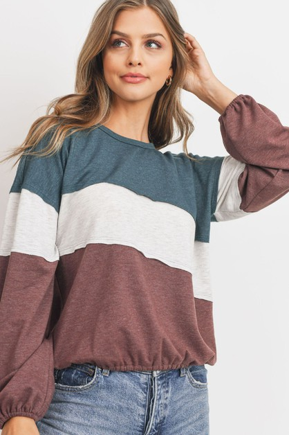 Terry Color Block Long Sleeve Top - orangeshine.com