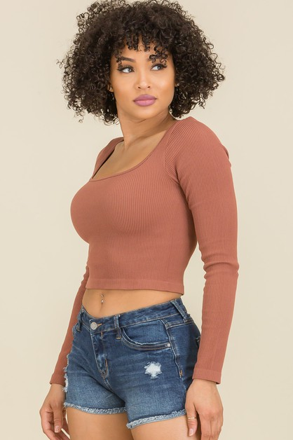 Square Neck Ribbed Long Sleeve Crop  - orangeshine.com