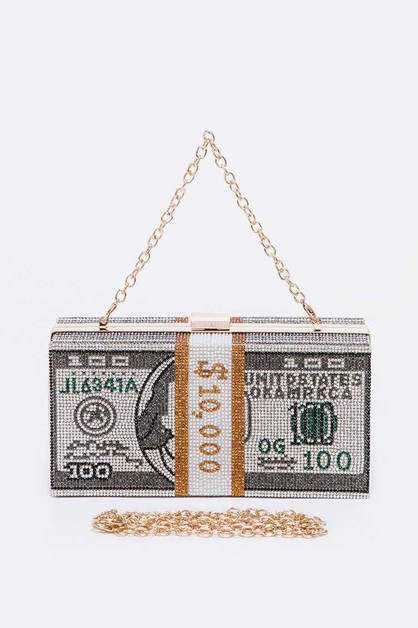Stack Of Cash Crystal Iconic Clutch - orangeshine.com
