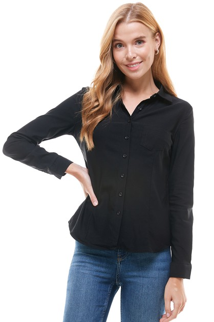 Long Sleeve Office Button Up Blouse - orangeshine.com