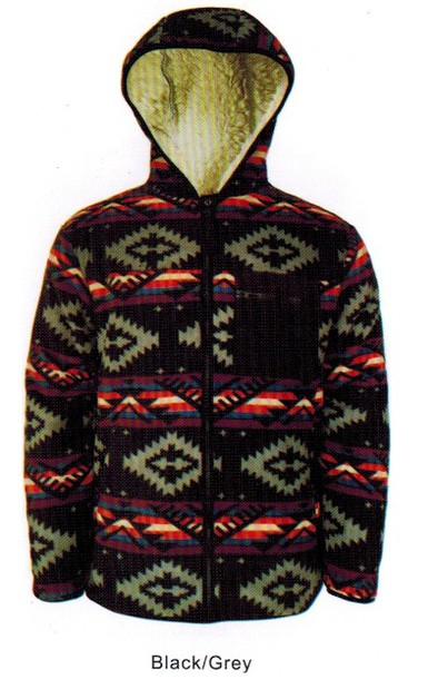 Serpa Indian Print Fleece Hooded - orangeshine.com