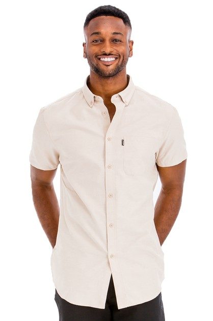 Casual Short Sleeve Solid Shirts - orangeshine.com