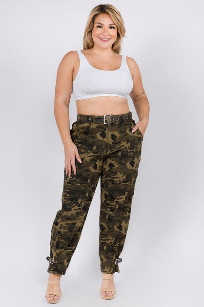 HIGH WAIST CARGO PANTS WITH BELT - orangeshine.com