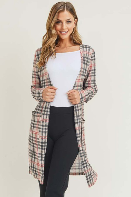 Plaid Duster Cardigan with Pockets - orangeshine.com