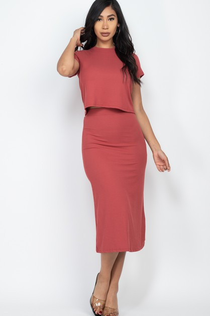 Ribbed Solid Top and Midi Skirt Set - orangeshine.com