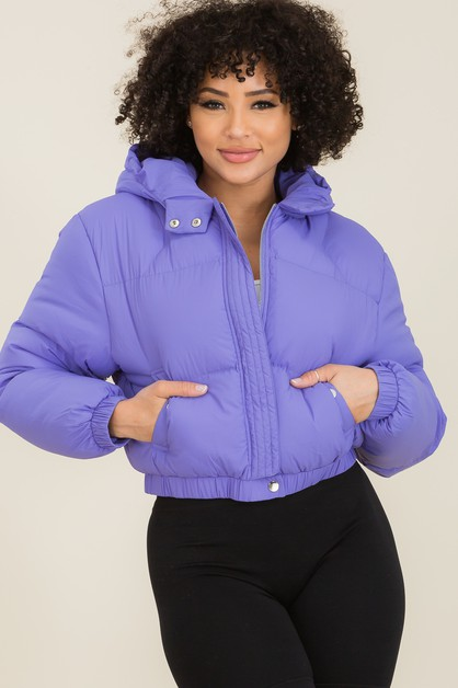 Hooded Cropped Puffer Jackets - orangeshine.com