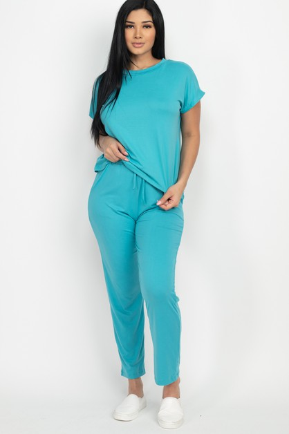Easy Wear Solid Top and Pants Set - orangeshine.com