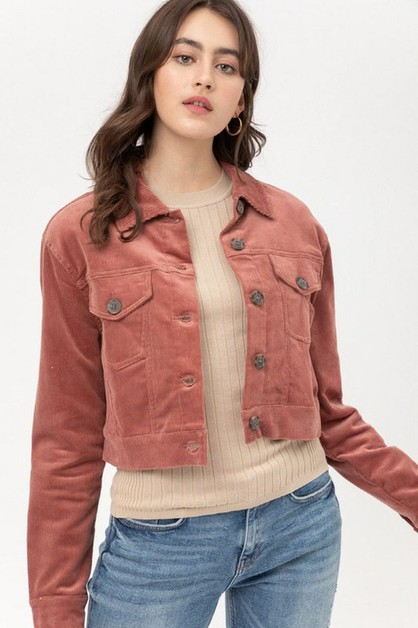SOLID CROPPED CORDUROY JACKET - orangeshine.com