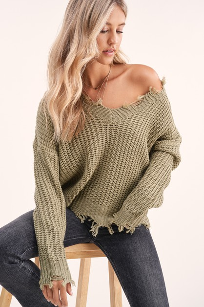 Avery Distressed Sweater - orangeshine.com