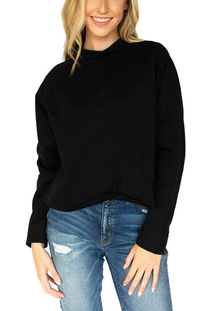 LS Mock Neck Cropped Sweatshirt - orangeshine.com