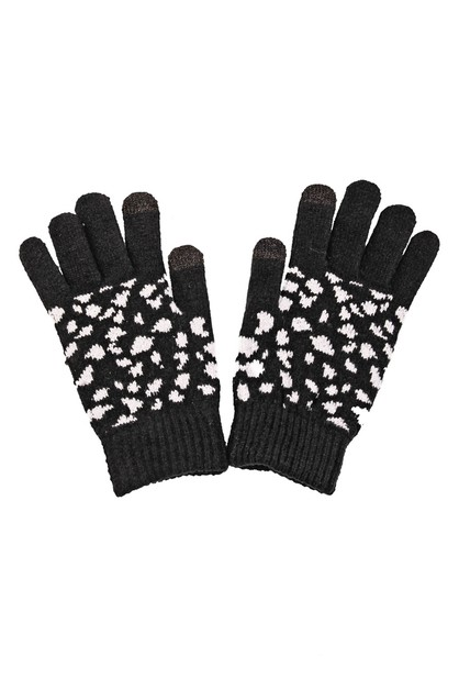 Spotted Knitted Pattern Gloves - orangeshine.com