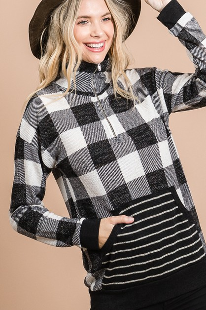 PLAID ZIP HALF SWEATSHIRT - orangeshine.com