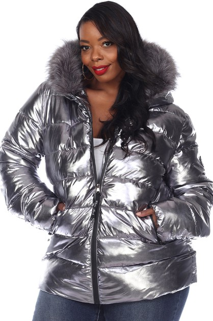 Plus Metallic Hooded Puffer Coat  - orangeshine.com
