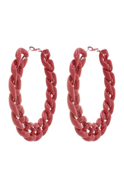 BASIC METAL LINK CHAIN HOOP EARRING - orangeshine.com