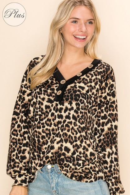 Deep V-neck Cheetah Print To - orangeshine.com