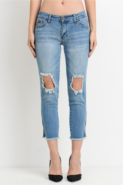 Reg rise relaxed fit crop jeans - orangeshine.com