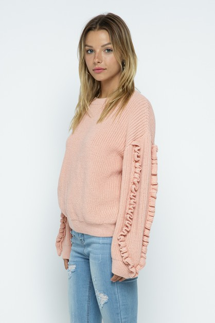 Ruffled Sleeve Detail Sweater - orangeshine.com