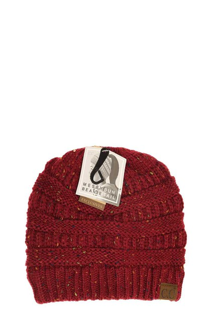 RIBBED CONFETTI KNIT BEANIE TAIL CC  - orangeshine.com