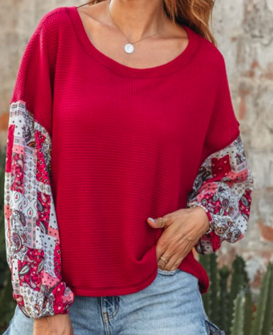 Contrast Sleeve Knit Top - orangeshine.com