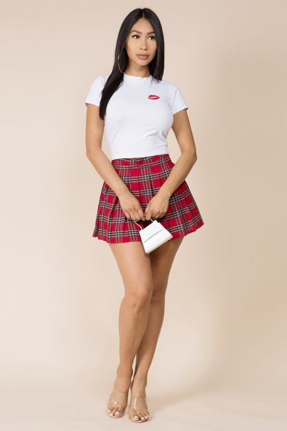 PLAID PLEATED MINI SKIRT - orangeshine.com