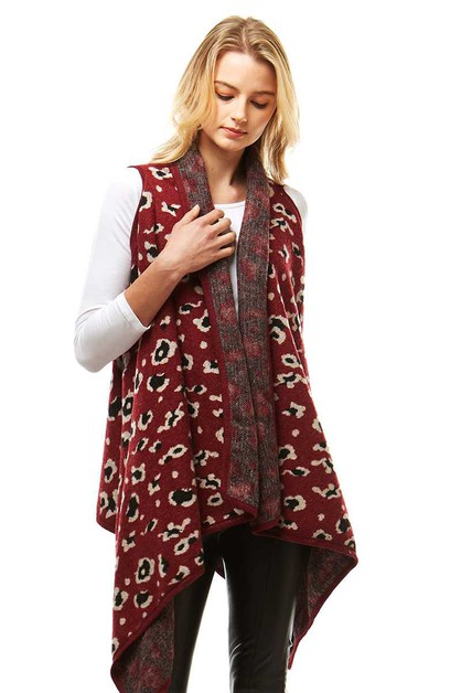 HOT TRENDY LEOPARD PATTERN VEST SHAW - orangeshine.com