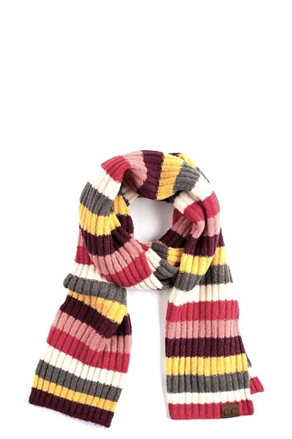 CC MULTI COLOR STRIPED RIBBED SCARF - orangeshine.com