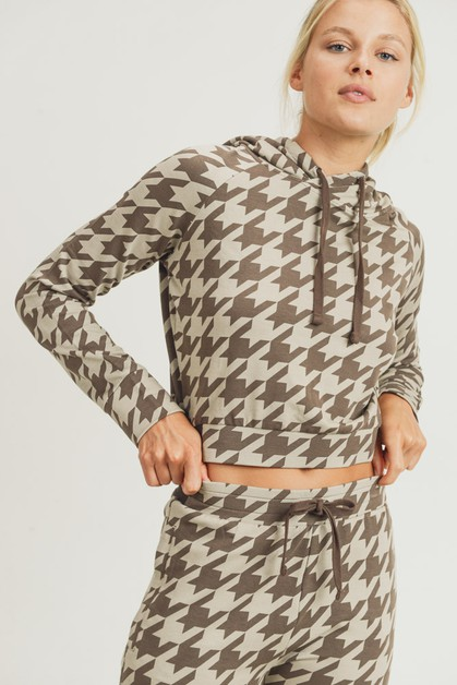 Houndstooth Cropped Pullover - orangeshine.com
