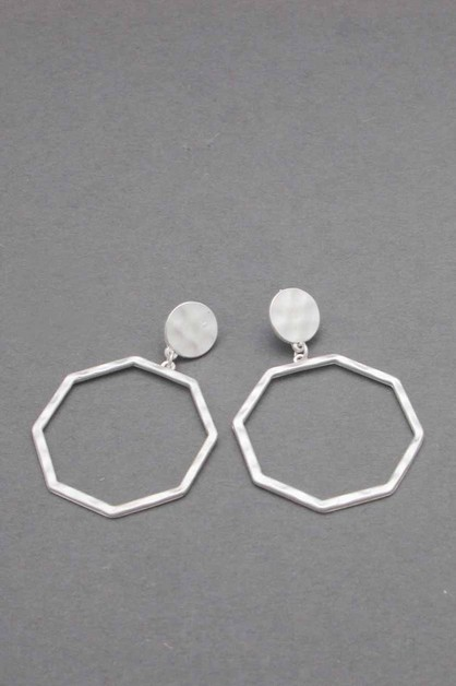 METAL OCTAGON DANGLE EARRING - orangeshine.com