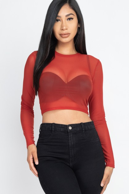 Solid Mesh Sheer Crop Top - orangeshine.com